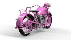 En gammal rosa motorcykel av 30-tal av det 20th århundradet En illustration på en vit bakgrund med skuggor från på en nivå Royaltyfri Fotografi