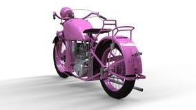 En gammal rosa motorcykel av 30-tal av det 20th århundradet En illustration på en vit bakgrund med skuggor från på en nivå Royaltyfri Bild