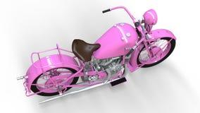 En gammal rosa motorcykel av 30-tal av det 20th århundradet En illustration på en vit bakgrund med skuggor från på en nivå Arkivbild