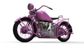 En gammal rosa motorcykel av 30-tal av det 20th århundradet En illustration på en vit bakgrund med skuggor från på en nivå Arkivfoto