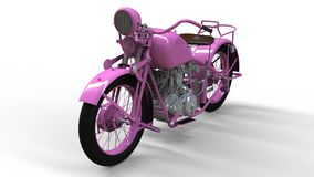En gammal rosa motorcykel av 30-tal av det 20th århundradet En illustration på en vit bakgrund med skuggor från på en nivå Arkivbilder