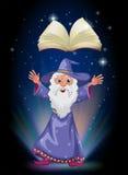 En gammal trollkarl nedanför den sväva tomma boken royaltyfri illustrationer