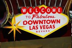 En gammal välkomnande till det Las Vegas tecknet Arkivfoton