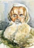 En gammalare man med ett skägg vattenfärg Arkivbild