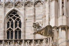 En Gargoyle i domkyrkan av Milan Arkivbilder