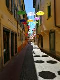 En gata i Belluno, Italien Arkivfoton