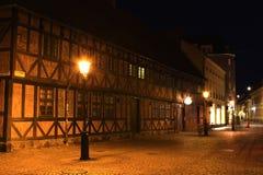 En gata i Malmo vid natt Arkivbild