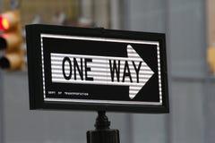 En gata undertecknar in New York City Arkivbilder