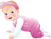 En geïsoleerd babymeisje die, glimlachen kruipen Royalty-vrije Stock Afbeeldingen