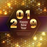 2019 en Gelukkige Nieuwjaarbanner in gouden schaduwen vector illustratie