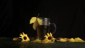 En genomskinlig exponeringsglaskopp är våt i regnet av varmt te i mitt av ett höstlandskap: gulnade stupade sidor, gula blommor lager videofilmer