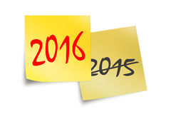2016 en 2015 geschreven op gele kleverige nota's Royalty-vrije Stock Fotografie