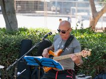 En gitarrist från en grupp av gatamusiker spelar musik för förbipasserande i Tel Aviv, Israel royaltyfria bilder