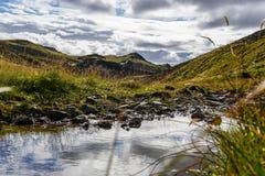 En Glaciel flod kör till och med ett isländskt landskap royaltyfria foton