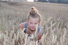En gladlynt liten flicka på ett kornfält arkivbild