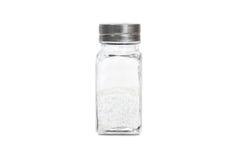 En glasflaska med salt Royaltyfria Bilder