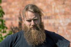 En godmodig stående av en man med ett skägg royaltyfri foto