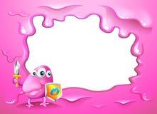 En gränsdesign med en rosa färg tre-synade det gigantiska innehavet en sköld Royaltyfri Bild