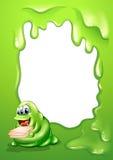 En gränsdesign med ett upptaget monster som bär en hög av legitimationshandlingar stock illustrationer