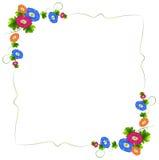 En gränsdesign med nya färgrika blommor Royaltyfria Bilder