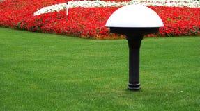En gräsmatta för grönt gräs, röda blommor, en svartvit lampa av en parkera av shanghai, porslin royaltyfri fotografi