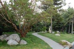 En gräsplan parkerar med härliga skulpturer av att breda ut sig träd och figurerade stenar som ligger längs banan Royaltyfri Bild