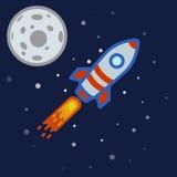 En grå missilklistermärke med röda band och blåa hyttventiler som flyger förbi månen Royaltyfria Foton
