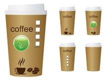 En grön illustration för kaffekopp med ordkaffet och ecoen undertecknar Royaltyfria Bilder
