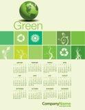 En grön miljö- kalender 2015 Royaltyfria Foton