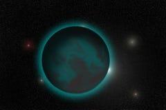 En grön planet är i ett universum Royaltyfria Bilder