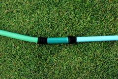 En grön slang som ligger på den gräs- jordningen, ett slut upp bilden av en trädgårdslang, gummirör för att bevattna växter i trä fotografering för bildbyråer