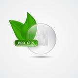 En grön stad Begreppet av en ECO också vektor för coreldrawillustration stock illustrationer