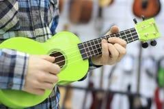 En grabb i en blå rutig skjorta spelar på en grön ukulele royaltyfri bild