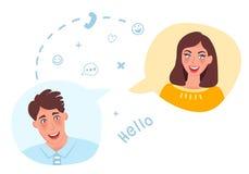 En grabb och en flicka att meddela direktanslutet Online-datummärkning och datummärkning Romantiska känslor och förälskelse också royaltyfri illustrationer