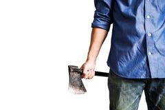 En grabb som rymmer den gamla rostiga yxan, ärlig sikt för slut som isoleras på vit bakgrund Fotografering för Bildbyråer