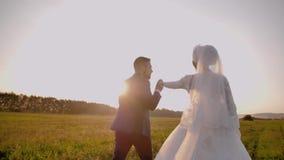 En grabb tar hans flickväns hand på en stunningly härlig äng på solnedgången Mycket trevligt plan stock video