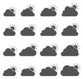 En grande partie icône nuageuse sur le fond blanc illustration stock