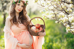 En gravid kvinna i en vårträdgård med korgen Royaltyfria Bilder