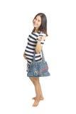 En gravid kvinna med handväskan Royaltyfri Fotografi