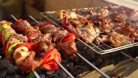 En grillant le poulet sur le barbecue grillez - plein HD visuel 1080 clips vidéos