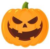 En grimaçant la bande dessinée mauvaise Emoji de potiron de Halloween faites face au caractère avec l'expression Photo stock