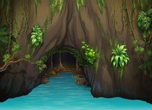 En grotta och bevattnar royaltyfri illustrationer