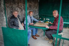 En grupp av äldre män kopplar av spela brädspel royaltyfri foto