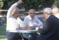 En grupp av äldre män som leker backgammon Royaltyfri Bild