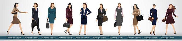 En grupp av affärskvinnor i eleganta affärsdräkter vektor illustrationer