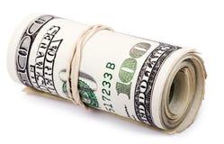 Rulle av 100 US$-räkningar Arkivfoton