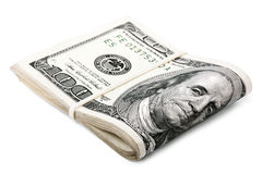 Vikt 100 US$-räkningar Arkivbild