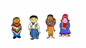 En grupp av barn från olika världsdelar, en från en latin - amerikanskt land, andra från Japan, andra från någon Af Arkivfoton