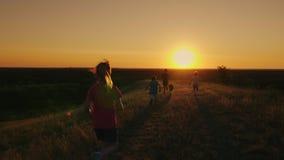 En grupp av barn kör lyckligt in mot solnedgången med hunden Begrepp - en lycklig barndom, kamratskap långsamt stock video