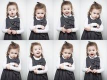En grupp av bilder med sinnesrörelserna av lite flickan royaltyfria foton